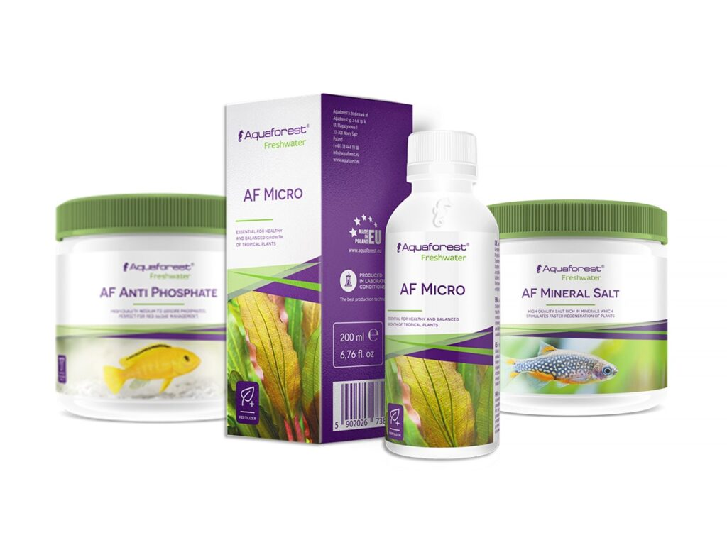 Aquaforest Freshwater water conditioners and plant fertilizers, including AF Anti Phosphate, AF Carbon Boost, and AF Mineral Salt — available now at Aquarium Artisans local fish store in Cincinnati, Ohio.